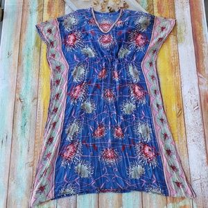 Vintage Gauzy Floral Dashiki Cocoon Maxi Dress OS